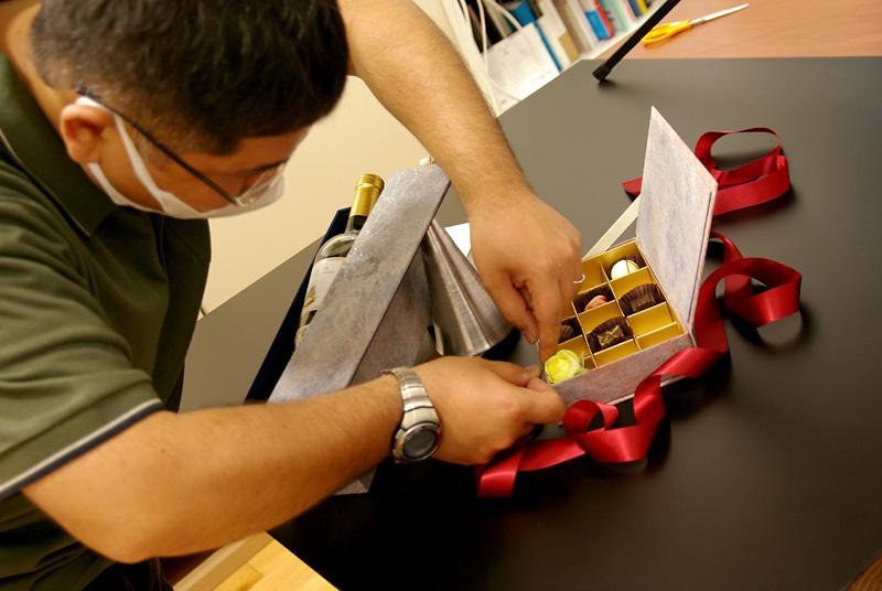 チョコレート貼り箱、サーフェイスデザイン