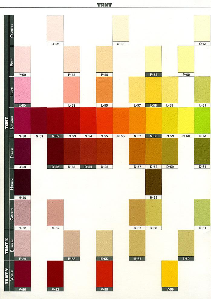 色見本帳(タント紙のサンプル帳) ※パソコンやモニターの環境により、「色」の見え方が変わります。あらかじめ、ご了承ください。
