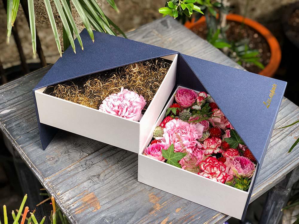 想いのが込められたフラワーボックス、BOX、貼り箱、貼箱、化粧箱、フラワーギフト、祝花、flowerbox、flowergift