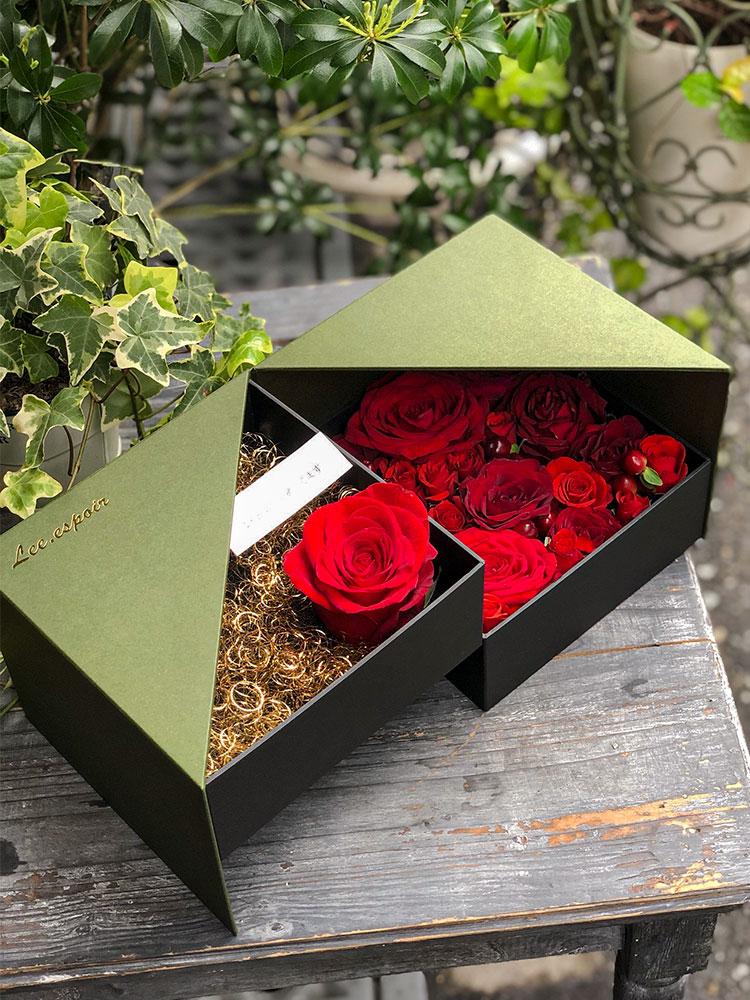 想いのが込められたフラワーボックス、BOX、貼り箱、貼箱、化粧箱、フラワーギフト、祝花、flowerbox、flowergift、お花のある暮らし、お花のある生活