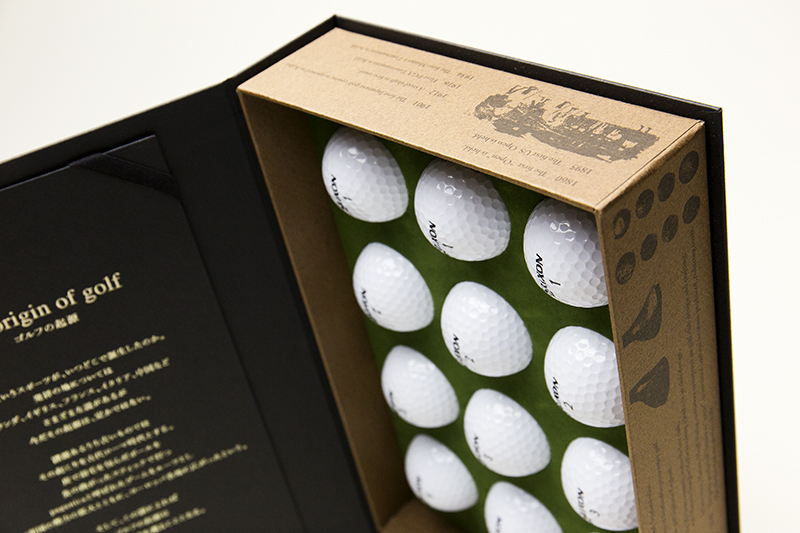 ゴルフボールのセット貼り箱