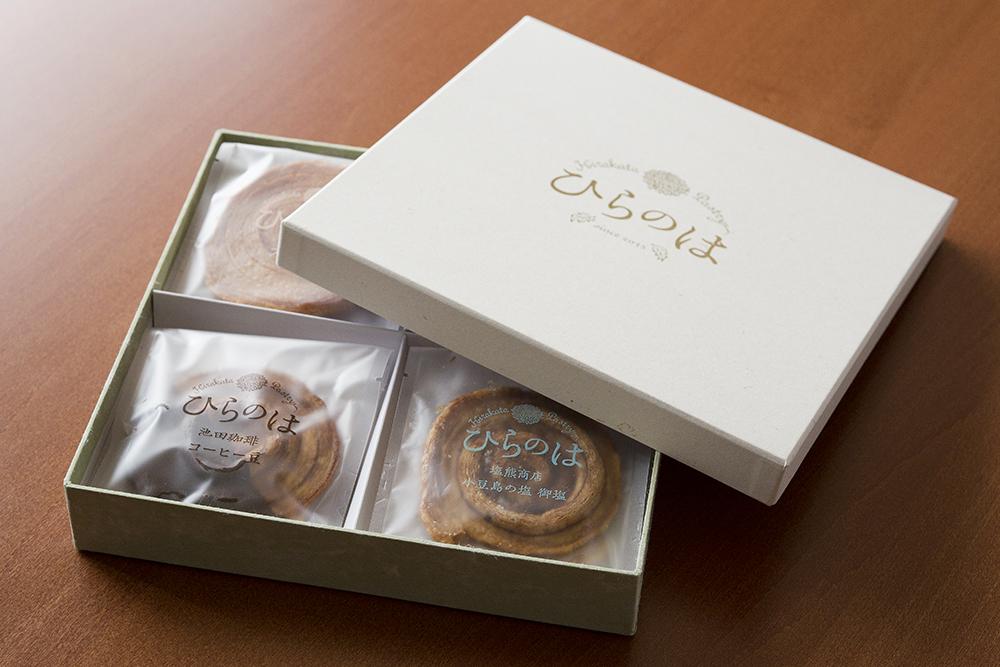 地域のコラボレーションから生まれたお菓子「ひらのは」の貼箱